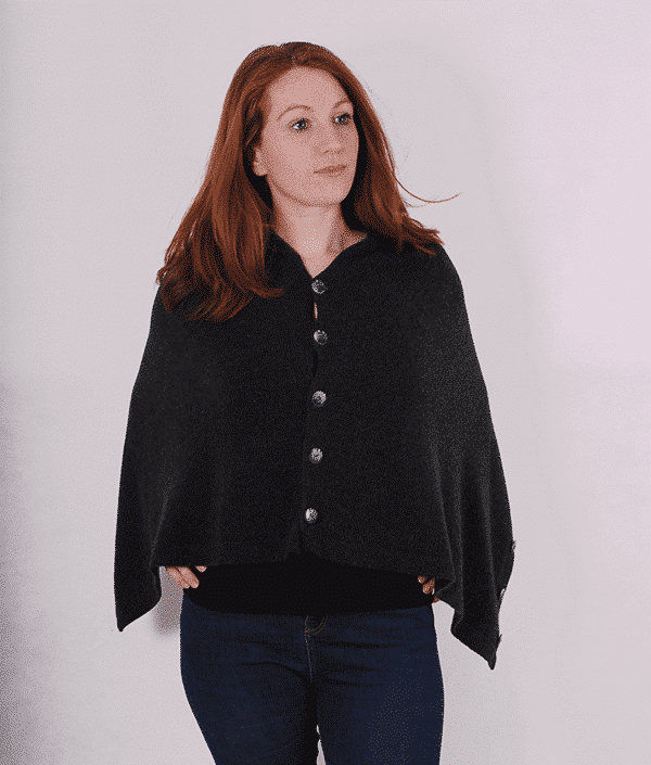 Pink and ginger 100% cashmere charcoal poncho