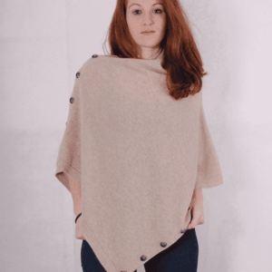 Pink and ginger 100% cashmere lightstone poncho