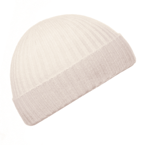 Pink and Ginger 100% cashmere winter white beanie