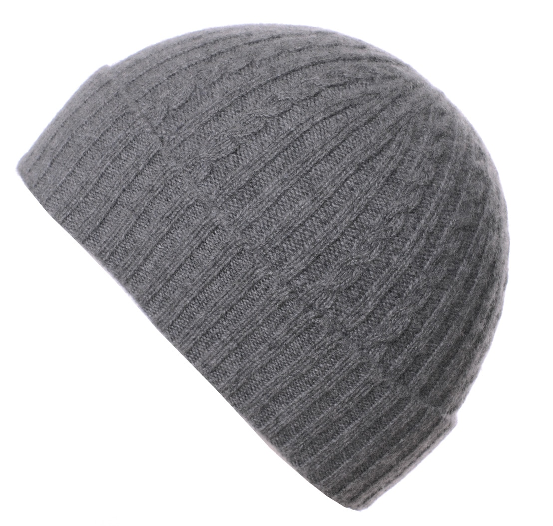 Pink and Ginger 100% cashmere grey childrens beanie