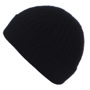 Pink and Ginger 100% cashmere black childrens beanie