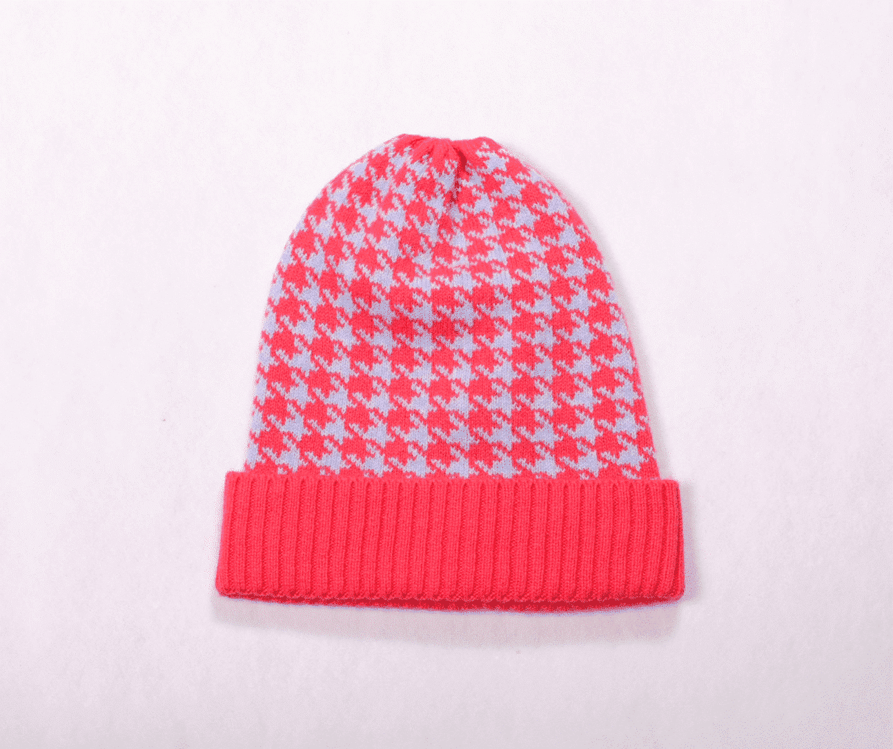 4fe2e5f0766 Check Beanie - 100% Cashmere - Pink And Ginger