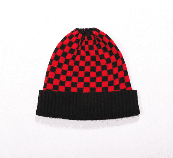 Pink and ginger 100% cashmere red/black beanie