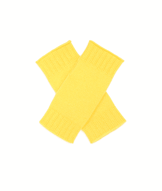 Pink and ginger 100% cashmere wristwarmer yellow