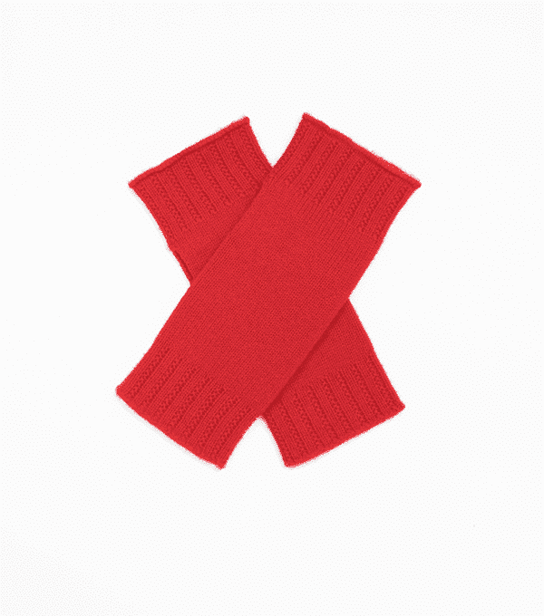 Pink and ginger 100% cashmere wristwarmer red